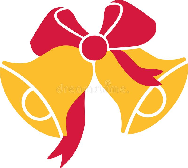Christmas bells with ribbon stock illustration