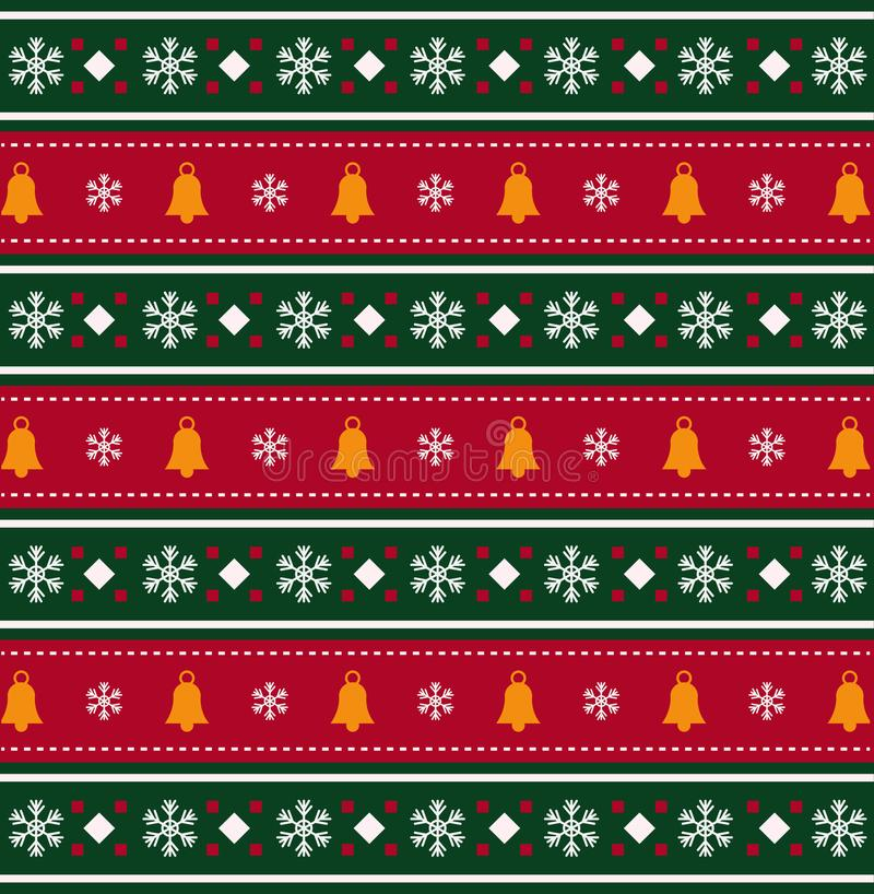 Christmas bells and snow flakes pattern on red and green striped vector illustration