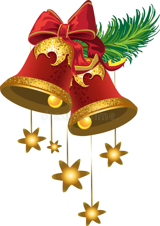 Christmas bells with a stars stock photo