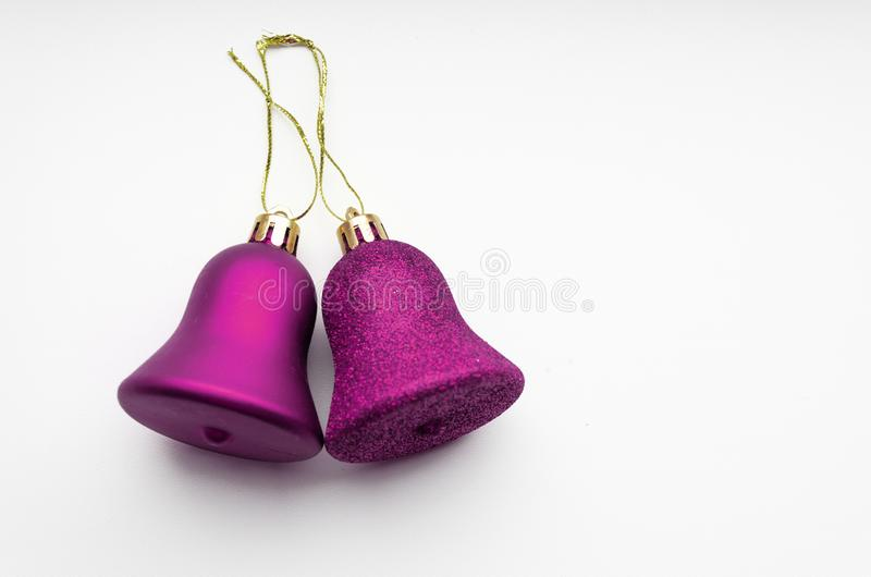 Christmas bells. Christmas tree decorations on a white isolated background stock photography