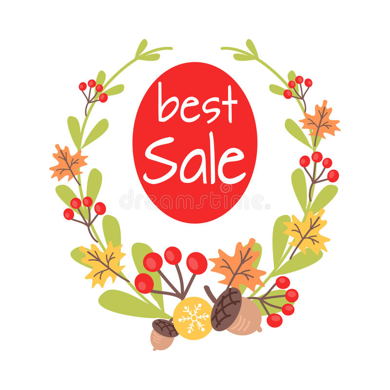 Free Christmas Best Sale Icon Surrounded By Wreath Royalty Free Stock Photography - 87728307