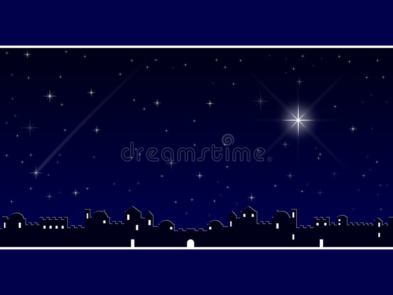 Christmas in Bethlehem [Blue]. A Christmas background showing the village of Bethlehem and a starry sky night scene. Useful also as a Christmas greeting card
