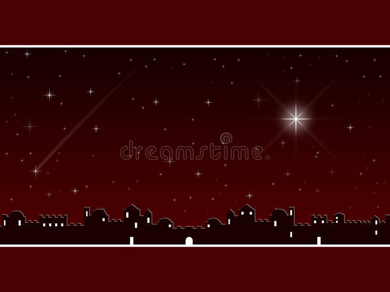 Christmas in Bethlehem [Red]. A Christmas background showing the village of Bethlehem and a starry sky night scene. Useful also as a Christmas greeting card stock illustration