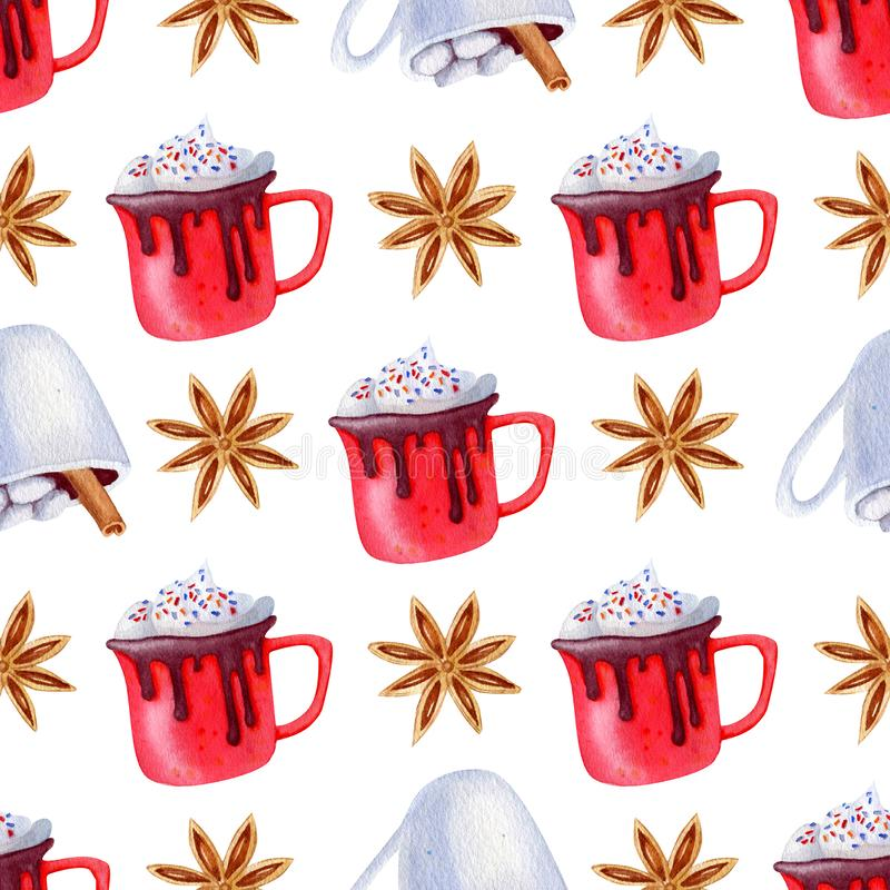 Pattern cups holiday. Christmas beverage pattern. Cups and spice. Background for holidays design for invitation, cristmas cards, textile and wrapping paper royalty free stock photos
