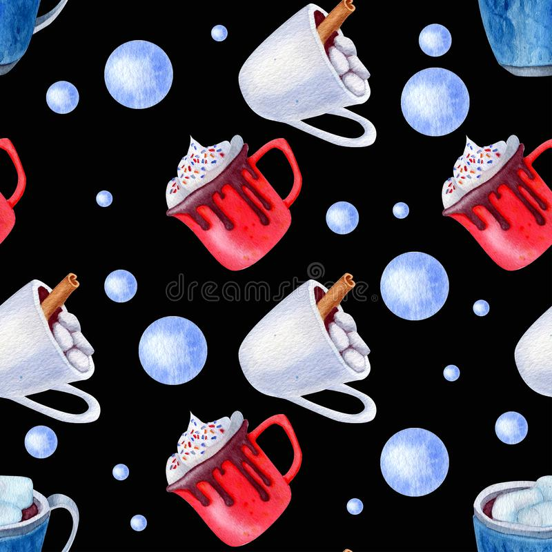 Pattern cups holiday. Christmas beverage pattern. Cups and spice. Background for holidays design for invitation, cristmas cards, textile and wrapping paper royalty free stock image
