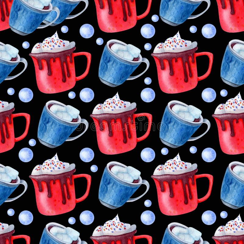 Pattern cups holiday. Christmas beverage pattern. Cups and spice. Background for holidays design for invitation, cristmas cards, textile and wrapping paper stock images