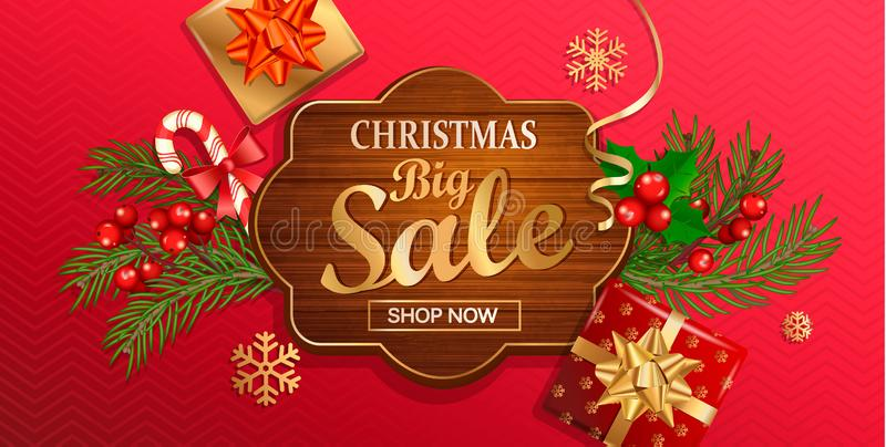 Christmas big sale banner for New Year holidays. Discount template on wooden frame on red background with traditional christmas. Elements-gift box with gold bow royalty free illustration