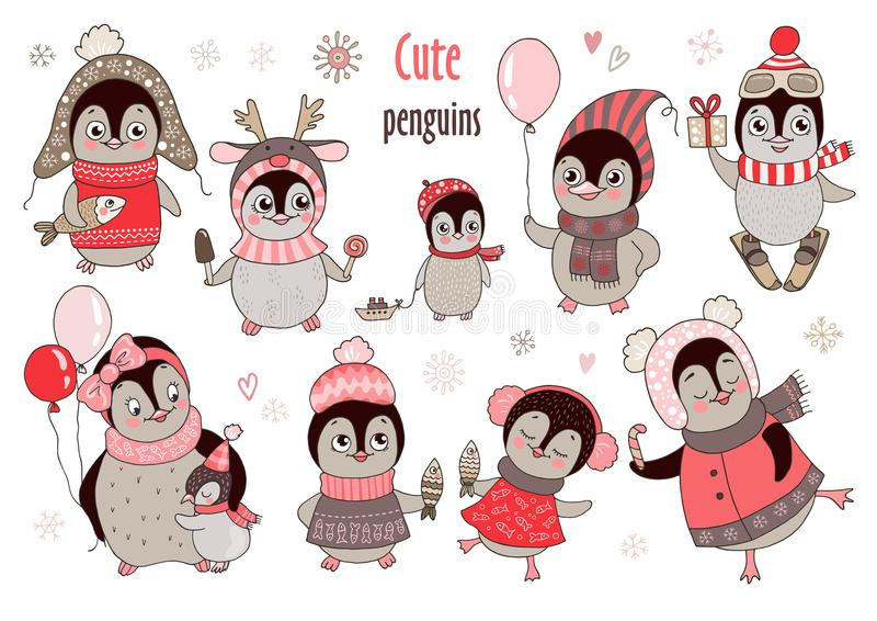 Christmas big set with ten cute penguins and snowflakes for new year`s design stock photography