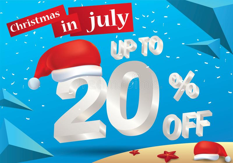 Christmas Sale in July design with 3d concept. Christmas Biggest Sale in July, poster, or banner template, with santa hat and 3d 20% discount offers stock illustration