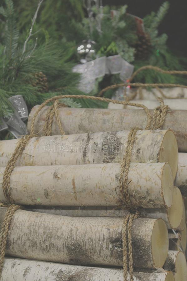 Christmas Birch Tree logs stock photos