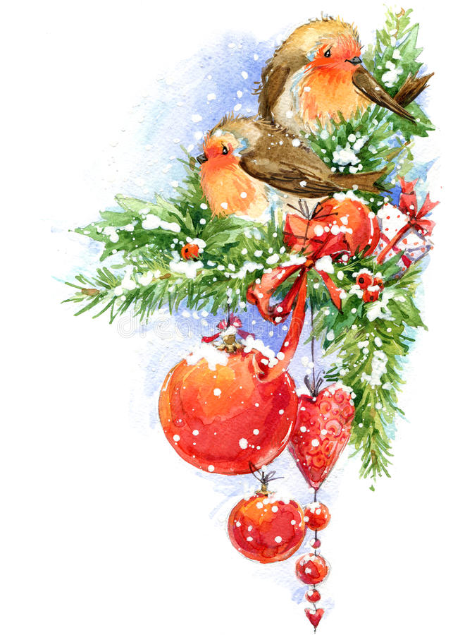 Free Christmas Bird And Christmas Background. Watercolor Illustration Stock Photography - 57940292