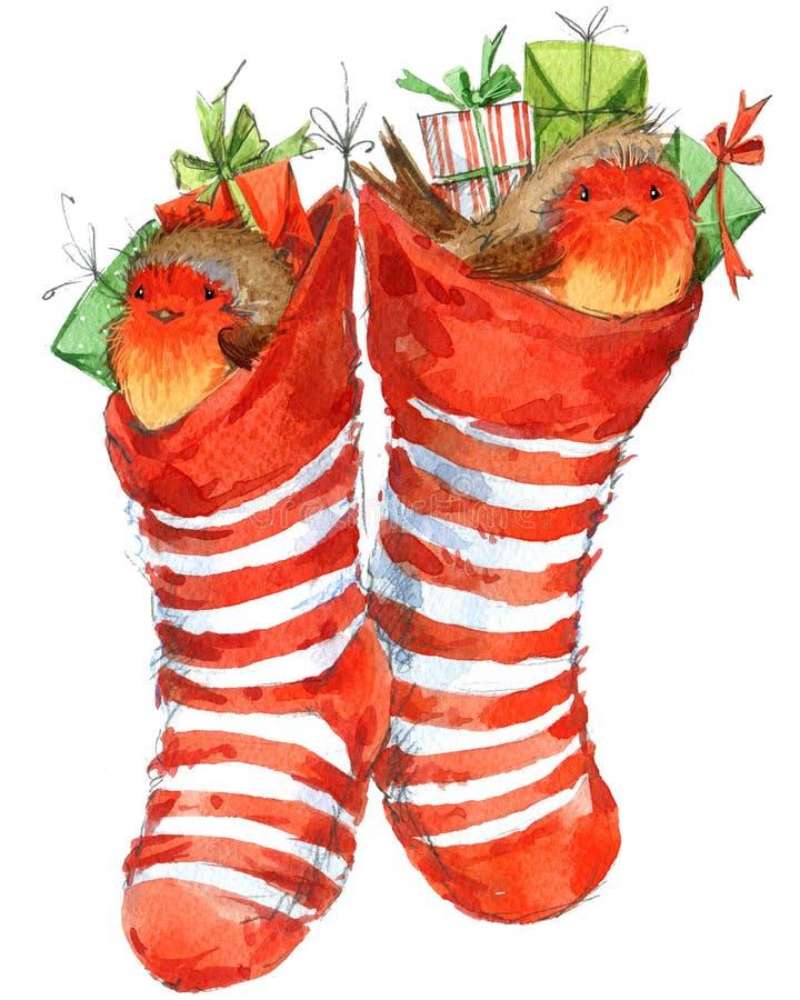 Christmas bird and Christmas background. watercolor illustration. Christmas bird and Christmas decoration background. watercolor illustration vector illustration