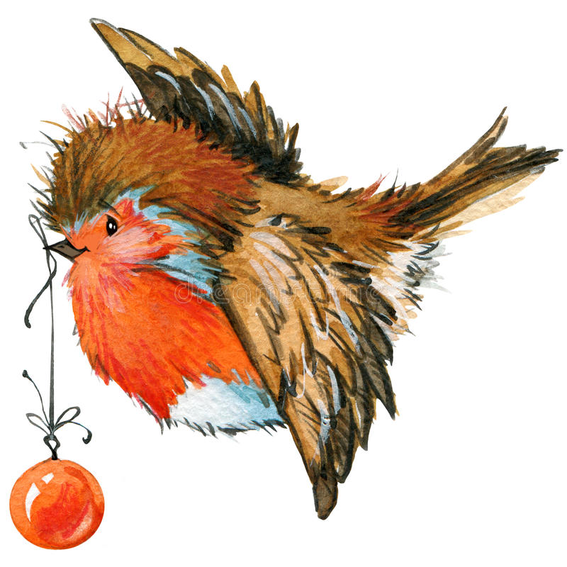 Christmas bird and Christmas background. watercolor illustration royalty free illustration