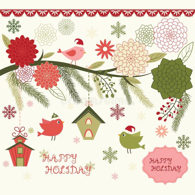Christmas Bird Floral,Bird House,Floral Frames,Bird,Christmas invitation stock illustration