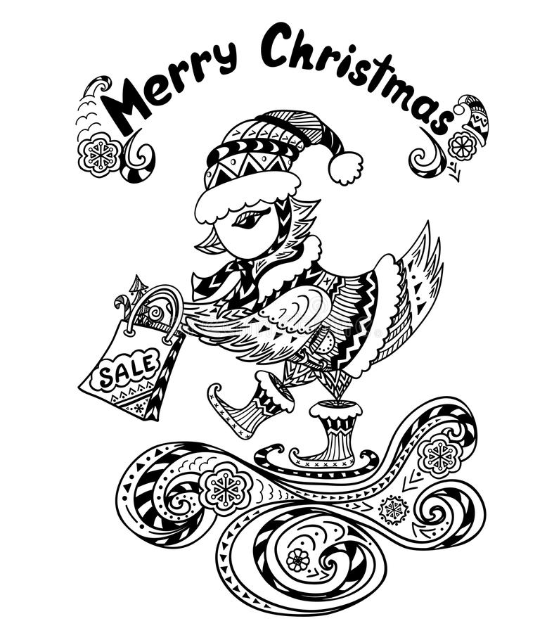 Christmas Bird with gift package in Zen-doodle style black on white stock illustration