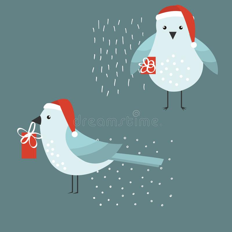 Christmas bird with a gift. Vector illustration royalty free illustration