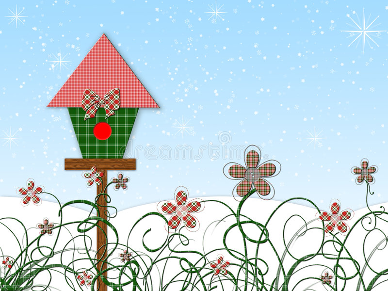 Christmas Birdhouse Stock Image