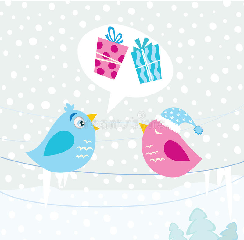 Christmas birds vector illustration
