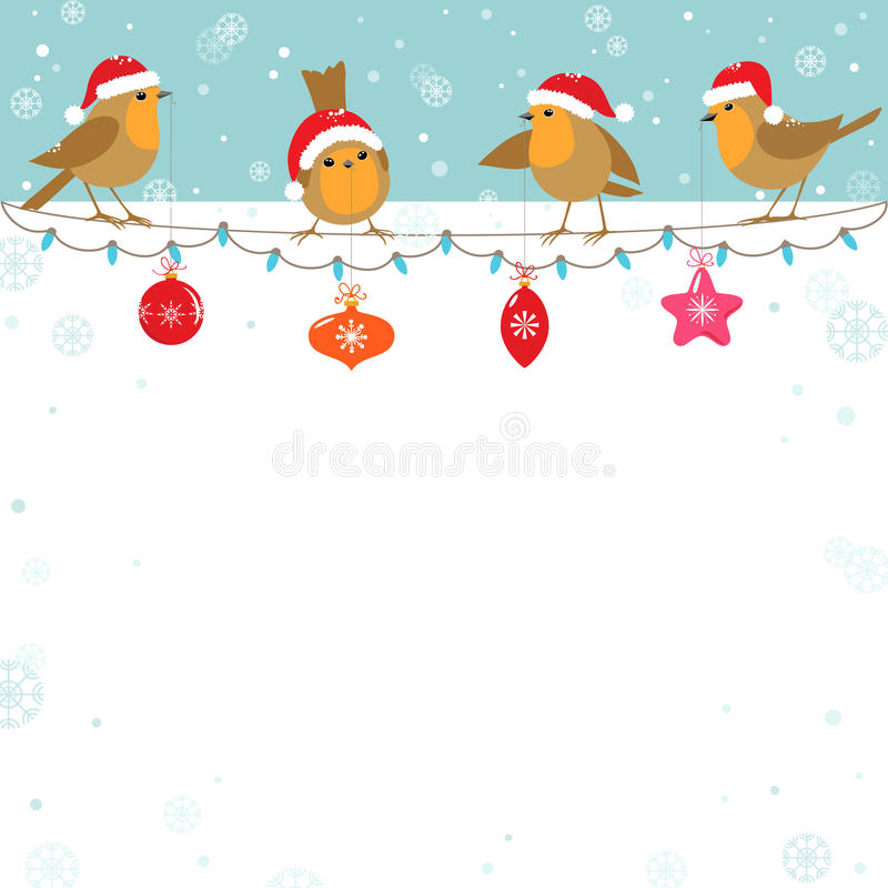 Christmas birds vector illustration