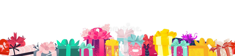 Christmas, birthday gifts, presents endless border vector illustration