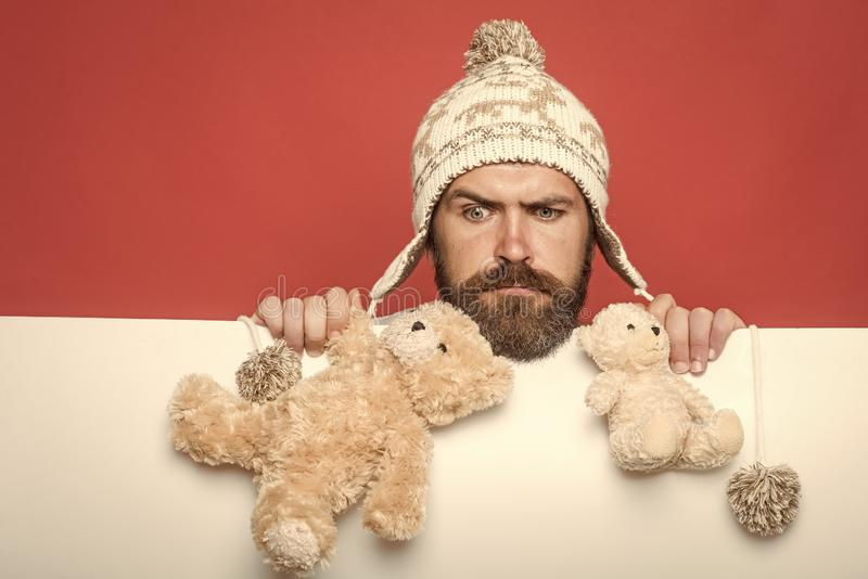 Christmas and birthday. Hipster with toy on red white background. Guy with serious face in winter hat. Man with long. Beard hold bear toy. Holiday celebration stock images