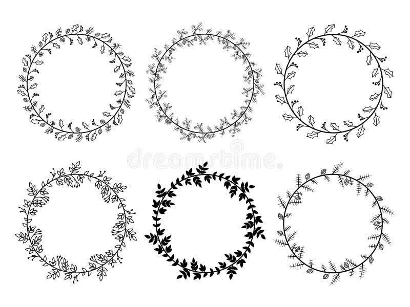 Christmas Black Laurel Wreaths stock illustration