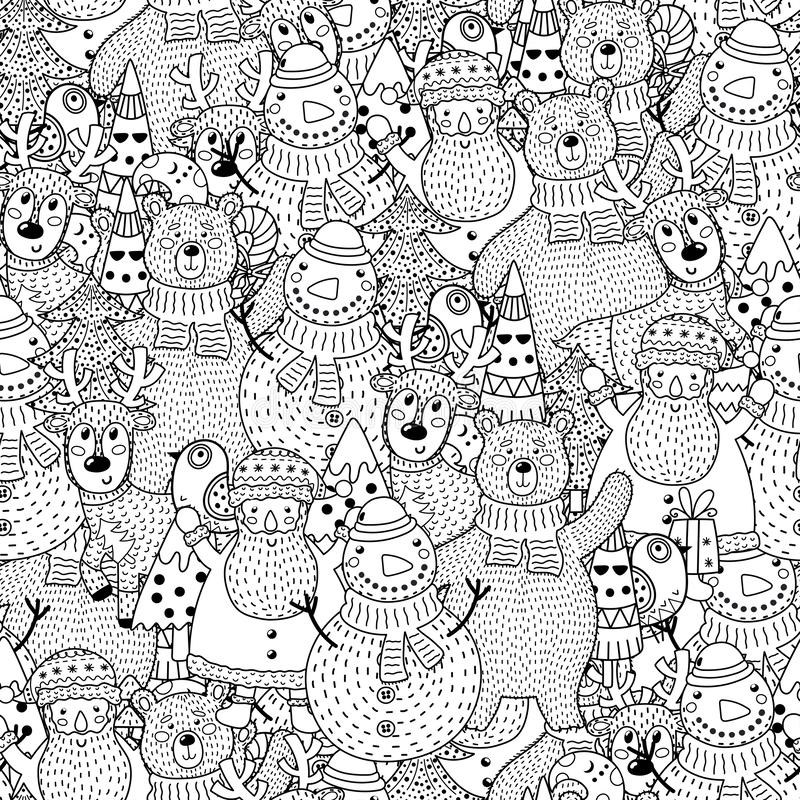 Christmas black and white seamless pattern royalty free illustration