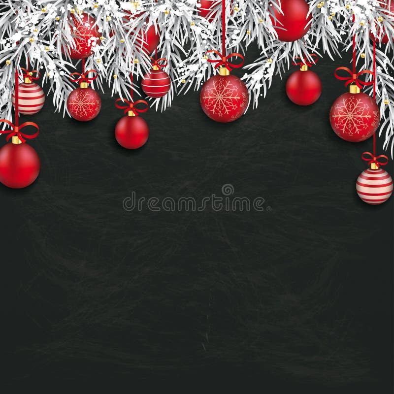 Christmas Blackboard Red Baubles Twigs. Frozen twigs with red baubles on the chalkboard royalty free illustration