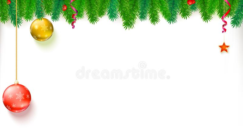 Christmas blank banner with garland of fir branches, red berries, star and balls. Festive atmosphere. Template for New royalty free illustration