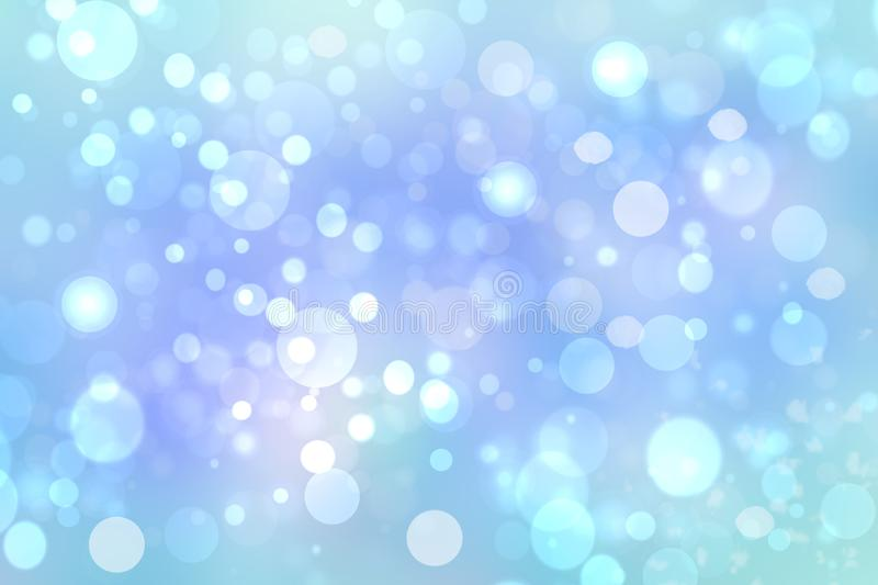 Christmas blue backdrop. Abstract light blue winter background texture with snow and snowflakes and a blue sky. Beautiful winter royalty free illustration