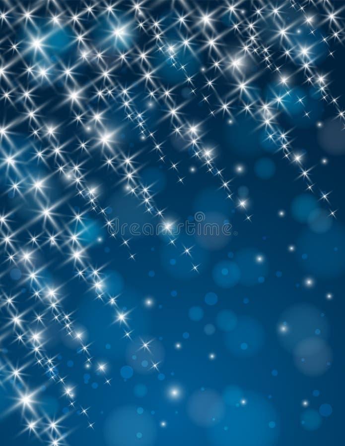 Christmas blue background with brilliance stars. Illustration royalty free illustration