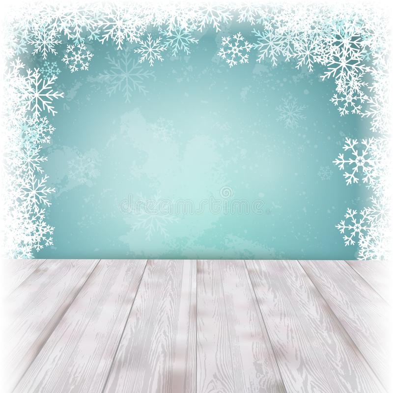 Christmas blue background with empty table. Vector stock photos