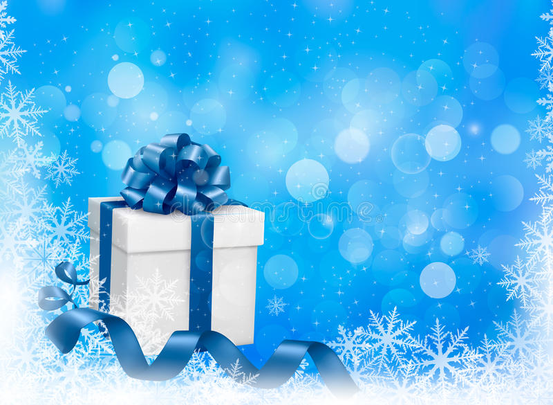 Christmas Blue Background With Gift Box And Snowfl Stock