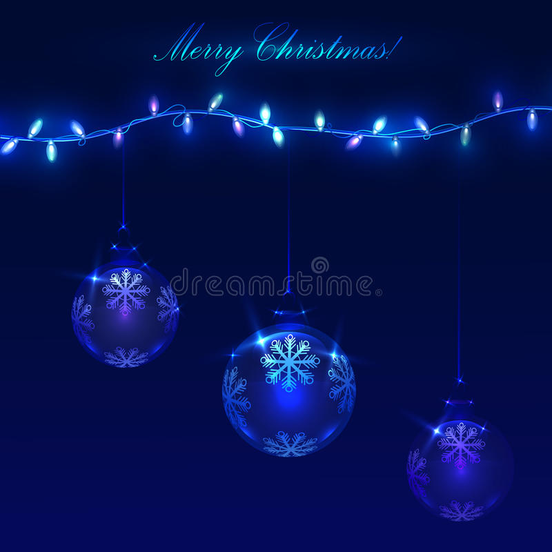 Christmas blue background with light garlands and balls royalty free stock photography