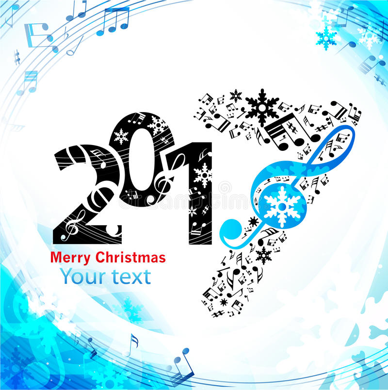 Christmas blue background music stock illustration