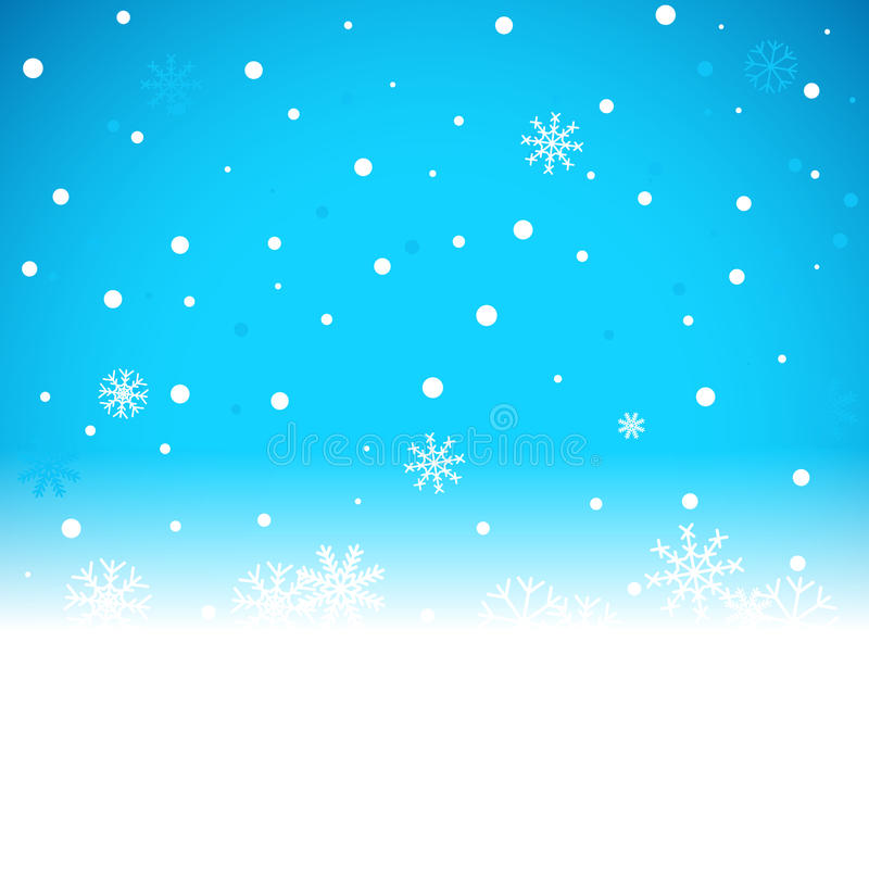 Christmas blue background with snow flakes. Vector illustration royalty free illustration