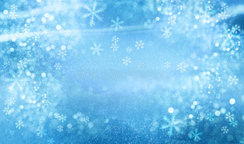 Christmas blue background with snow. stock image