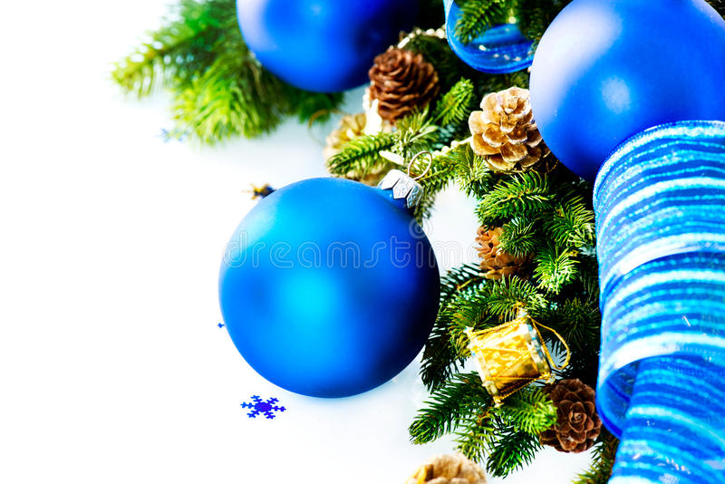 Download Christmas Blue Baubles And Decoration Stock Photo - Image: 28173874