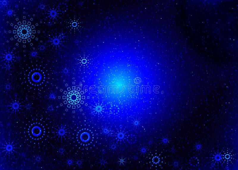 Christmas blue card. Magic snowflakes stock illustration