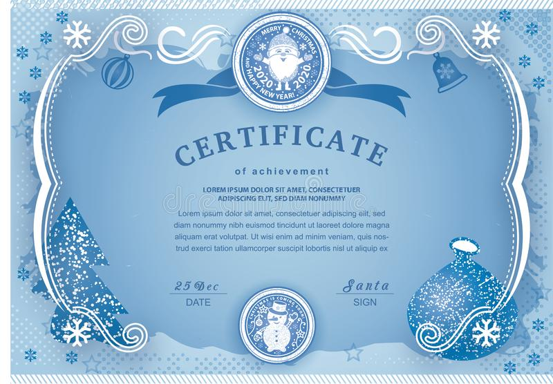 Christmas blue certificate with Santa Claus and Snowman. Winter frozen background for New Year congratulations stock illustration