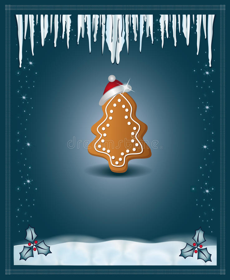 Christmas blue congratulations card gingerbread. Template royalty free illustration