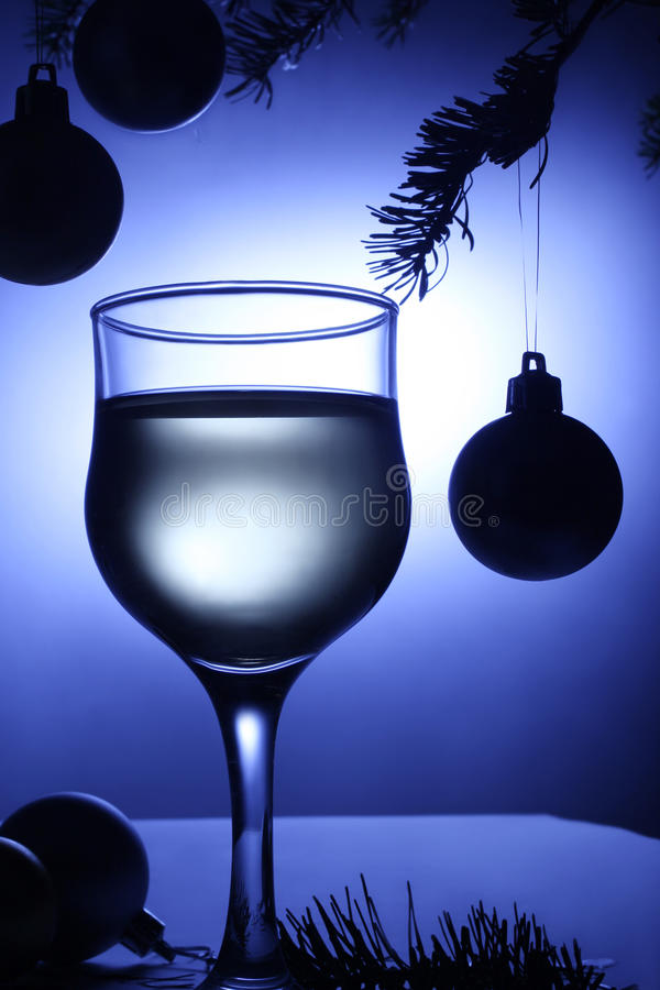 Christmas Blue Decoration Beverage. Xmas Balls Royalty Free Stock Image