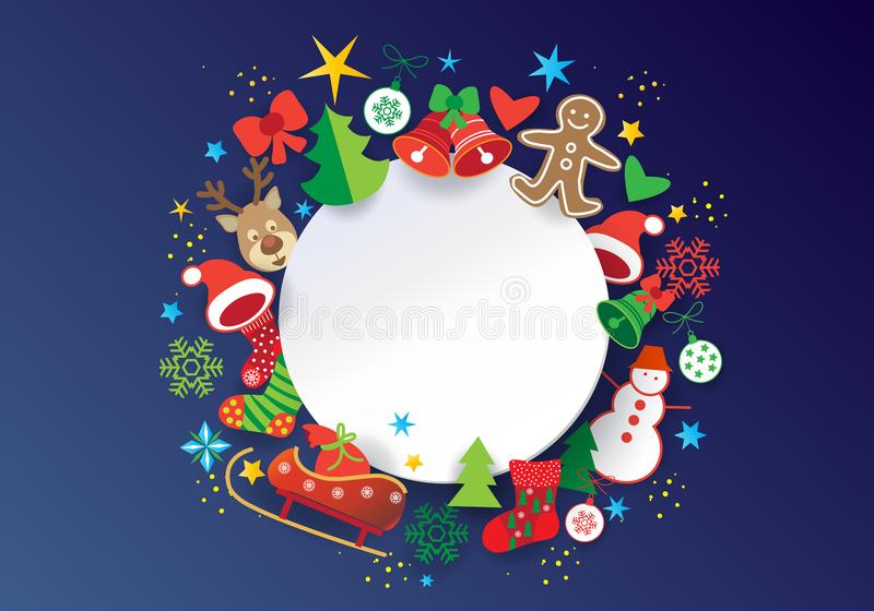 Christmas Blue Greeting Card Xmas Icons And Symbols Stock Vector