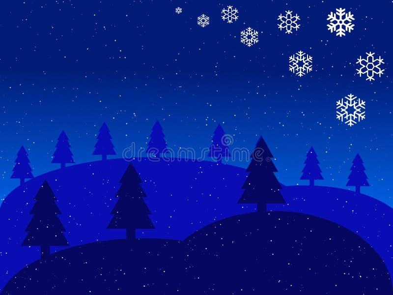 Christmas blue landscape vector illustration