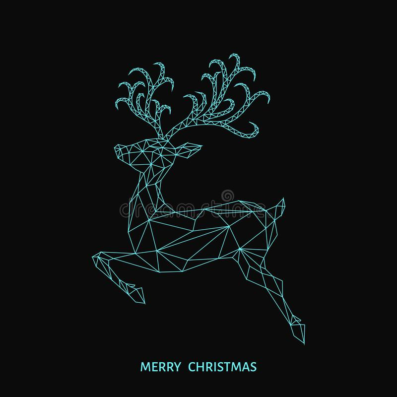 Christmas blue low poly triangle reindeer. Christmas low poly triangle reindeer. Xmas greeting card with blue deer on black background. Vector illustration in vector illustration