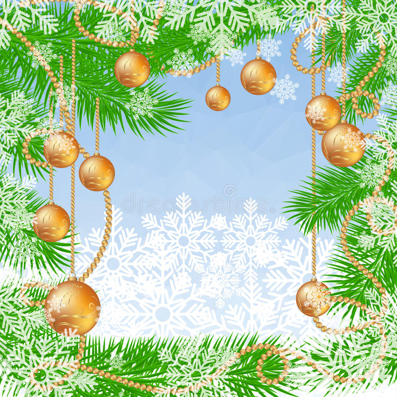 Christmas blue polygonal background with fir tree, snowflakes and glass Christmas balls. royalty free illustration