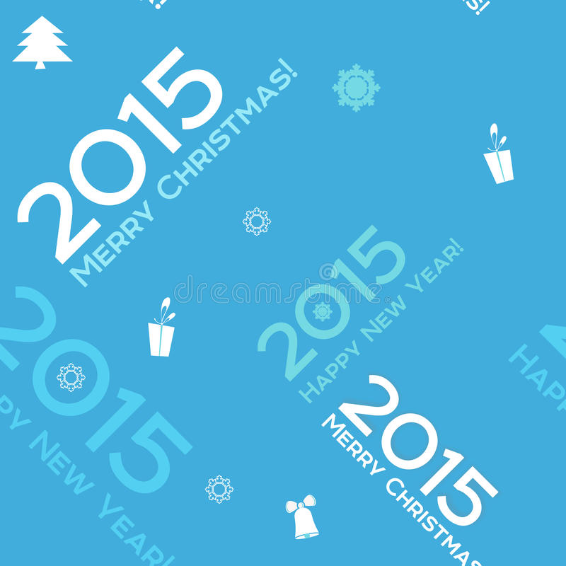 Christmas blue seamless background 2015. Vector Christmas words seamless pattern stock illustration