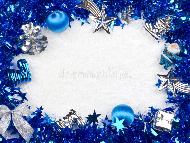 Christmas blue and silver frame. Close up stock photography