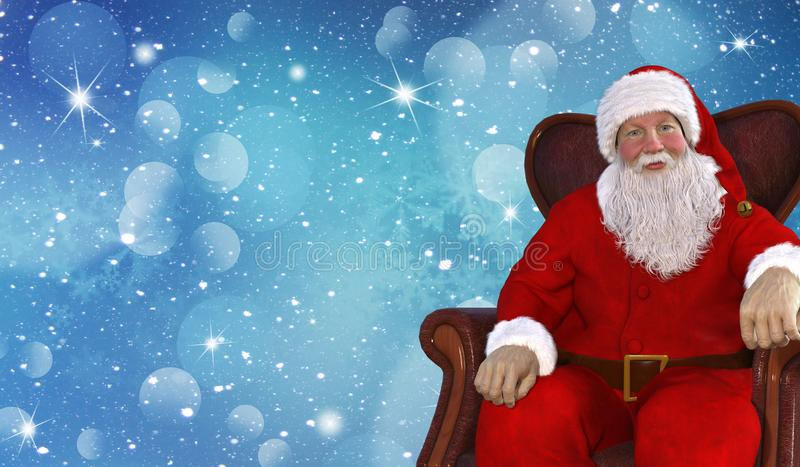 Christmas blue background with Santa Claus stock illustration