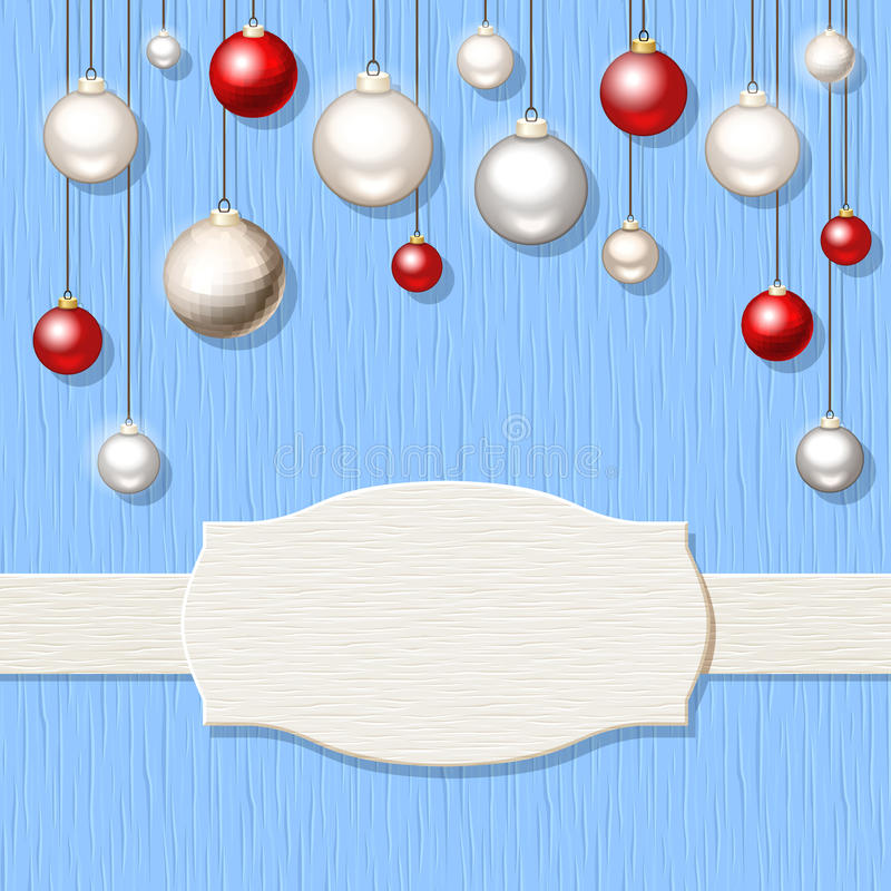 Christmas blue wooden background with red and silver balls. Vector Christmas blue wooden background with red and silver hanging balls vector illustration